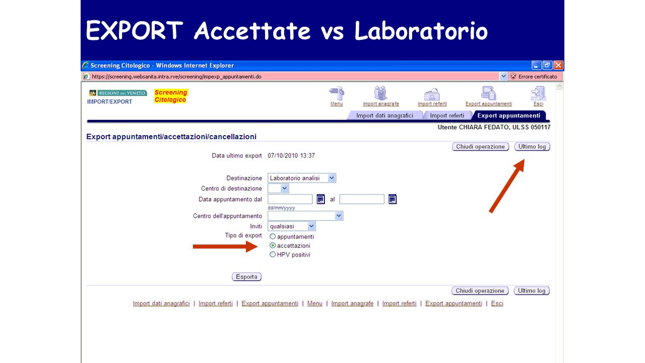 EXPORT Accettate vs Laboratorio
