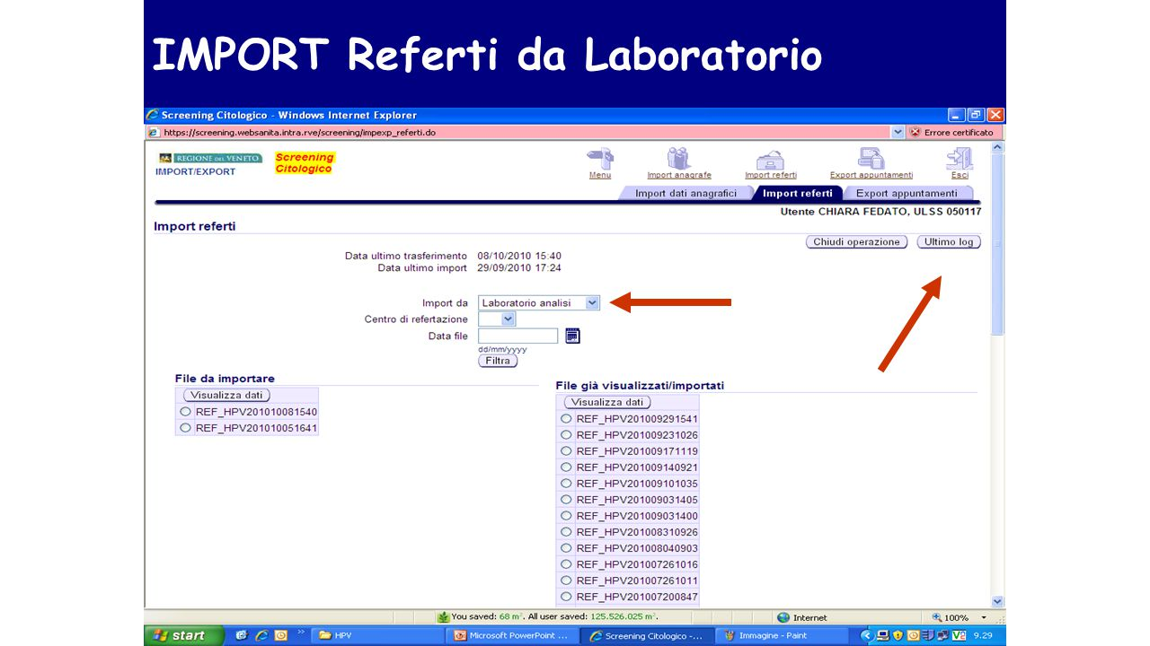 IMPORT Referti da Laboratorio