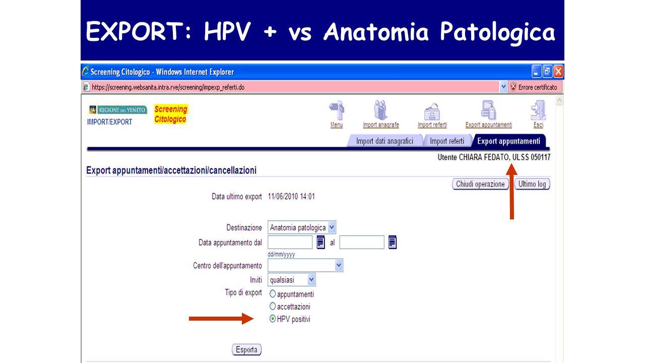 EXPORT: HPV + vs Anatomia Patologica