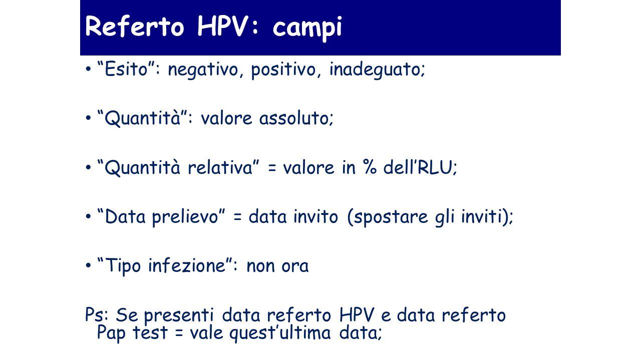 Referto HPV: campi Esito : negativo, positivo, inadeguato;