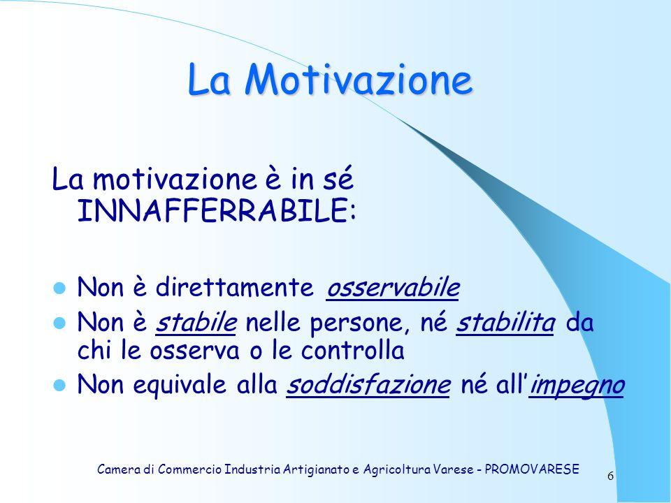 La Motivazione La motivazione è in sé INNAFFERRABILE: