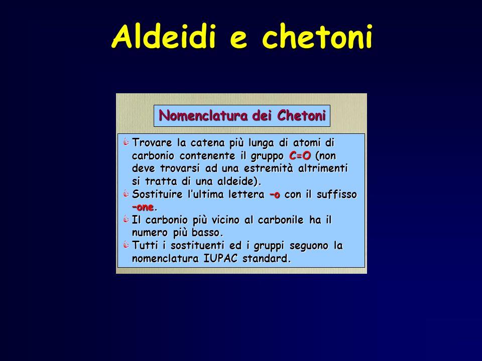 Aldeidi e chetoni Nomenclatura dei Chetoni