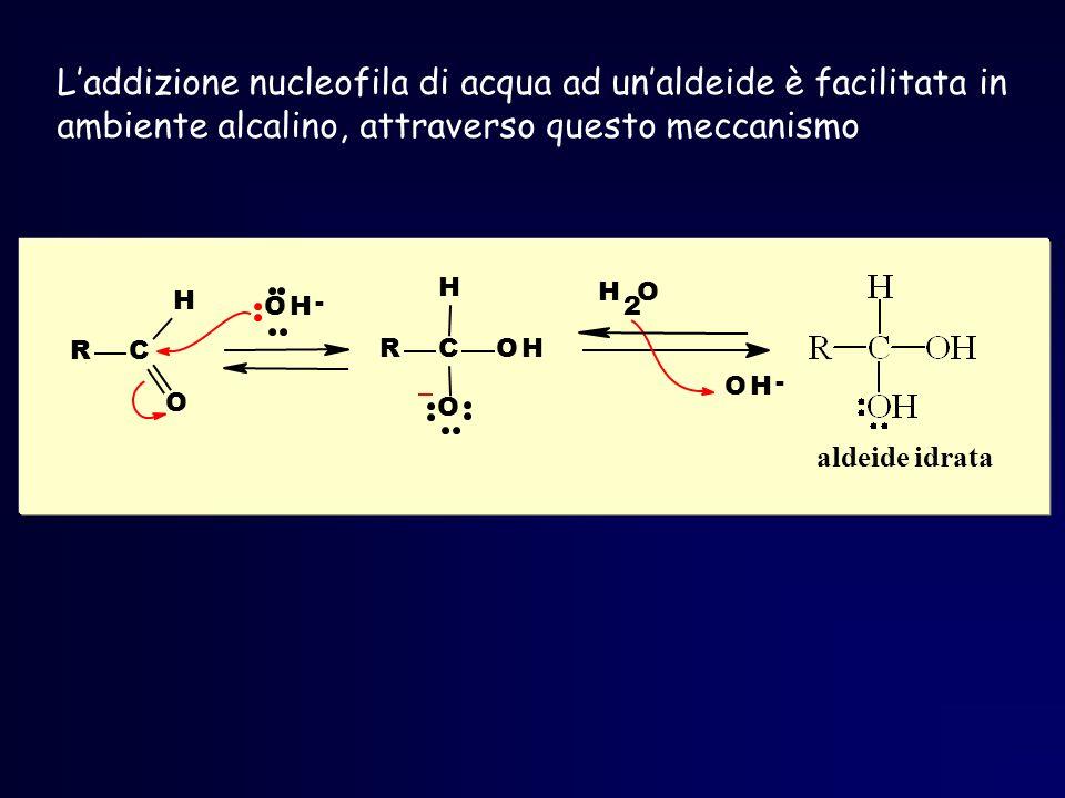 L'addizione nucleofila di acqua ad un'aldeide è facilitata in ambiente alcalino, attraverso questo meccanismo
