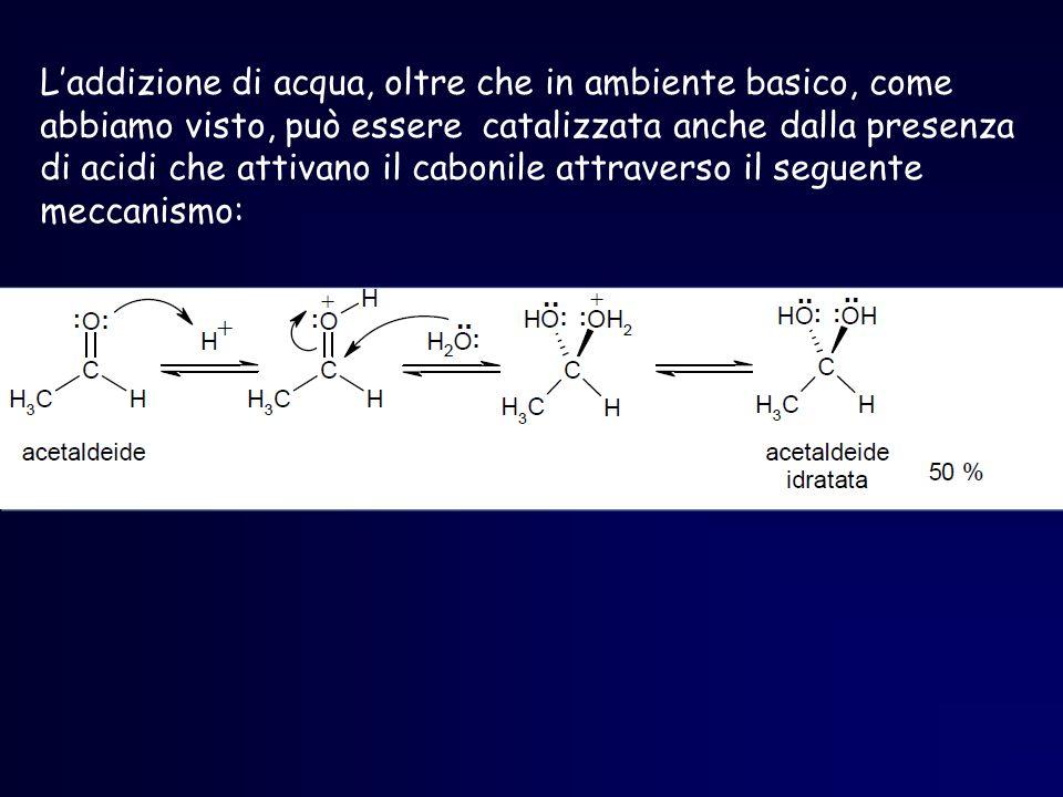 L'addizione di acqua, oltre che in ambiente basico, come abbiamo visto, può essere catalizzata anche dalla presenza di acidi che attivano il cabonile attraverso il seguente meccanismo: