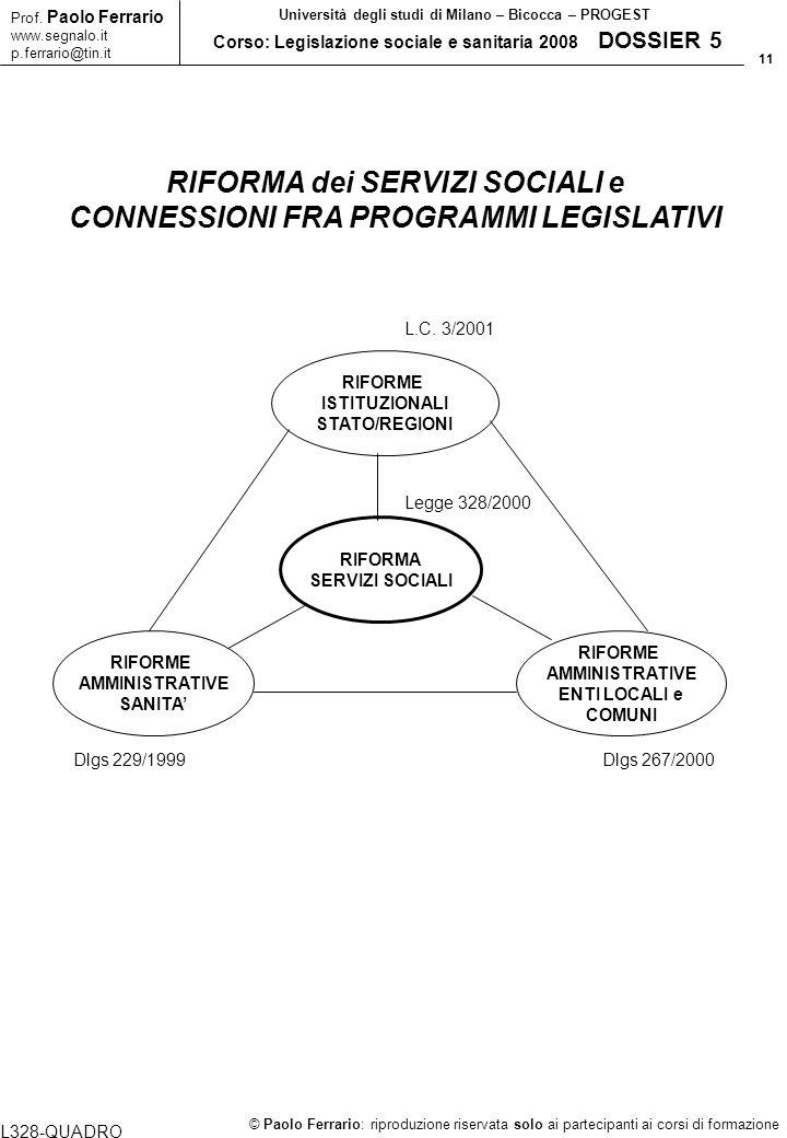 RIFORMA dei SERVIZI SOCIALI e CONNESSIONI FRA PROGRAMMI LEGISLATIVI