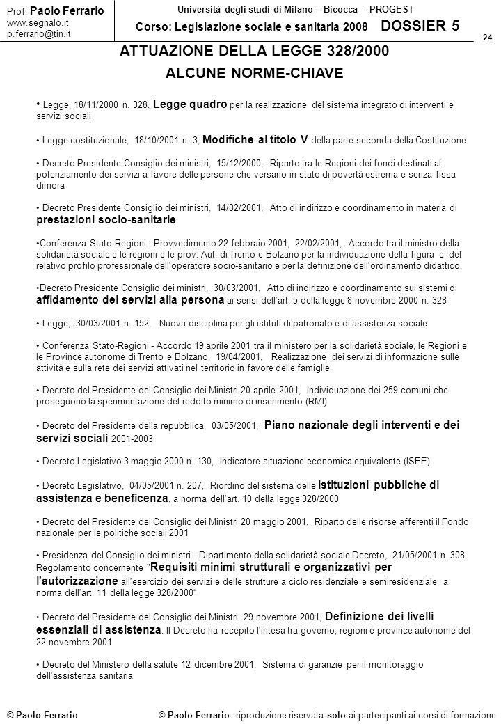 ATTUAZIONE DELLA LEGGE 328/2000