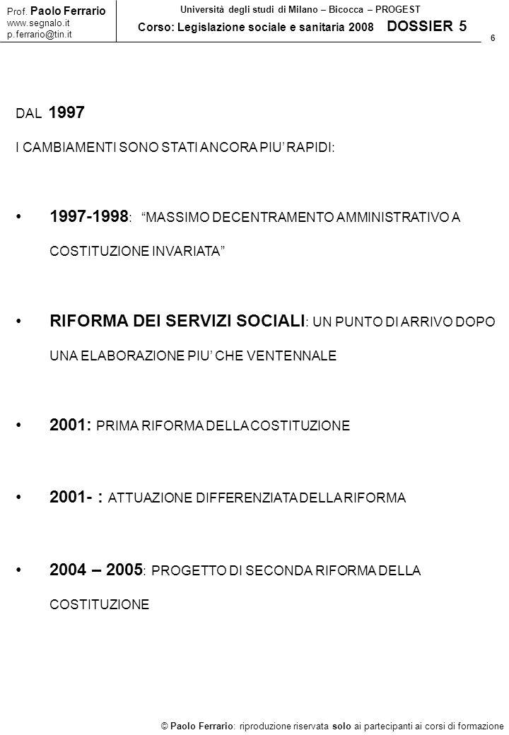 2001: PRIMA RIFORMA DELLA COSTITUZIONE