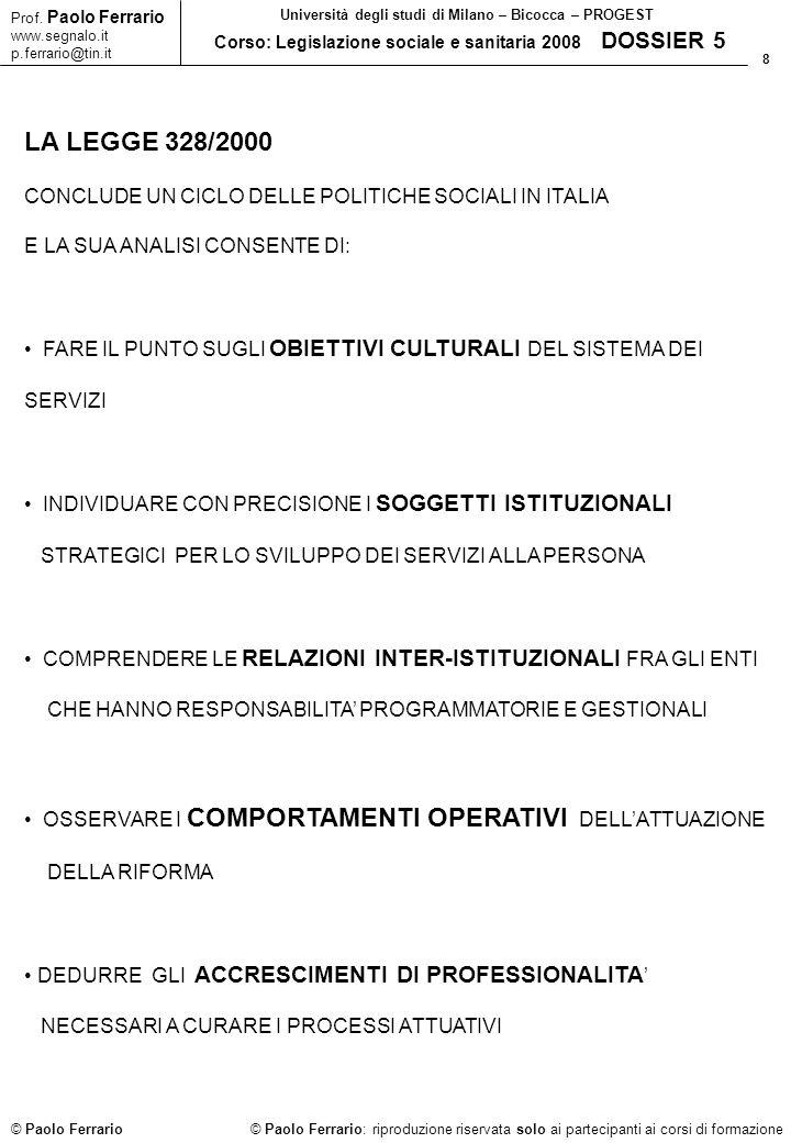 LA LEGGE 328/2000 CONCLUDE UN CICLO DELLE POLITICHE SOCIALI IN ITALIA
