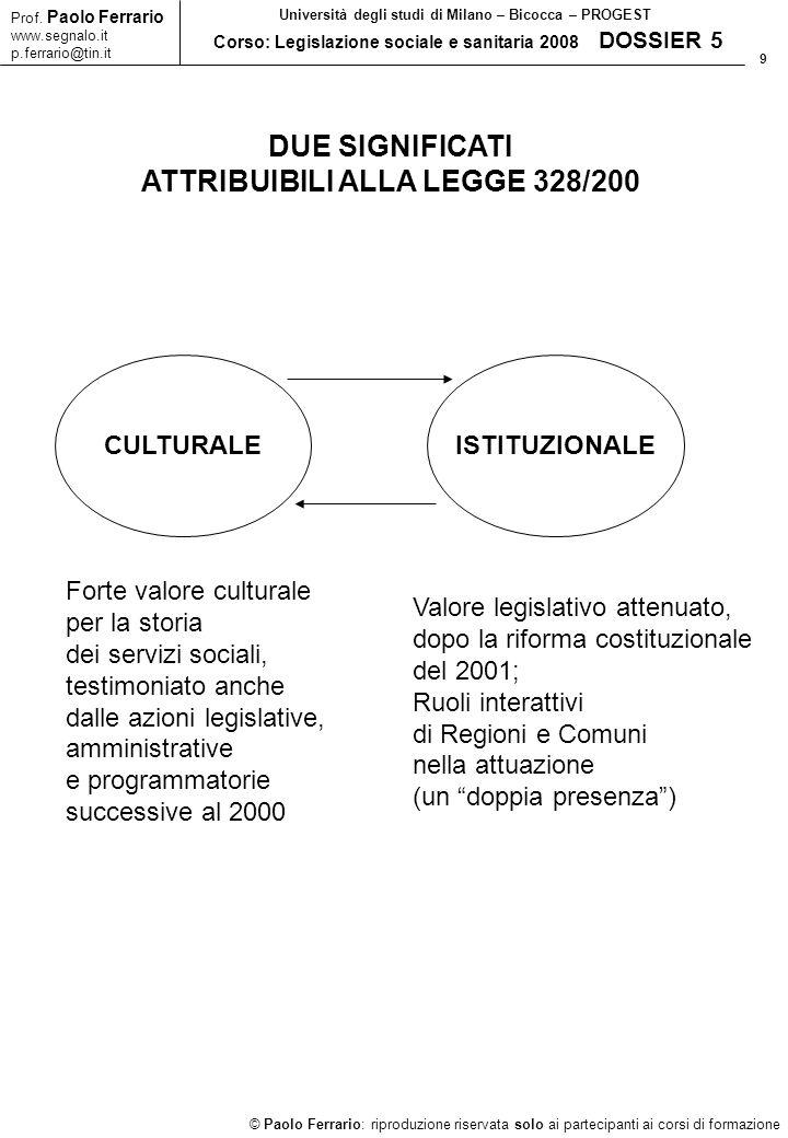 ATTRIBUIBILI ALLA LEGGE 328/200