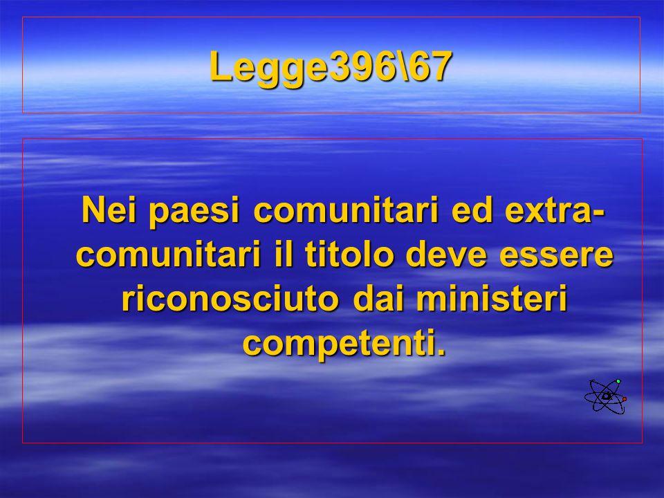 Legge396\67 Nei paesi comunitari ed extra-comunitari il titolo deve essere riconosciuto dai ministeri competenti.
