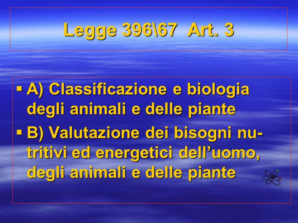 Legge 396\67 Art. 3 A) Classificazione e biologia degli animali e delle piante.