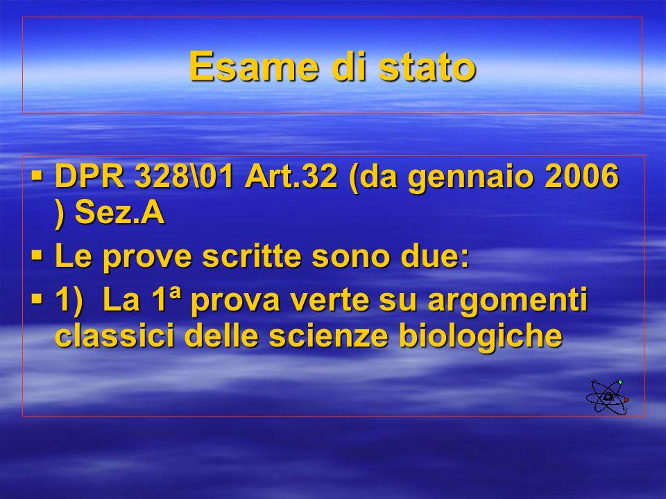 Esame di stato DPR 328\01 Art.32 (da gennaio 2006 ) Sez.A