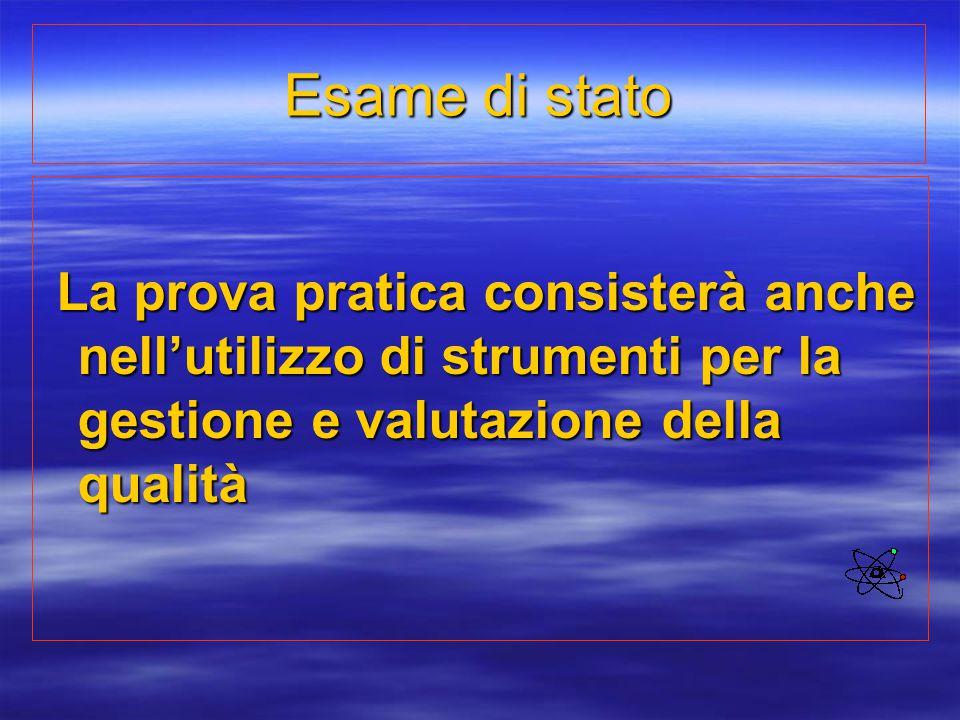 Esame di stato La prova pratica consisterà anche nell'utilizzo di strumenti per la gestione e valutazione della qualità.