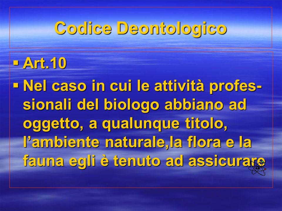 Codice Deontologico Art.10