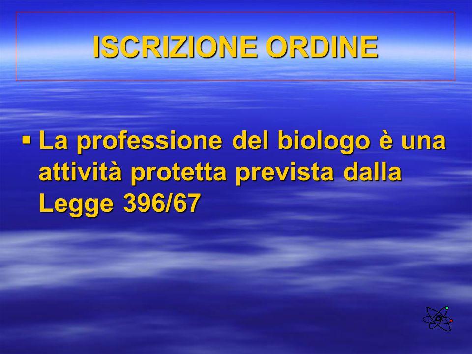 ISCRIZIONE ORDINE La professione del biologo è una attività protetta prevista dalla Legge 396/67