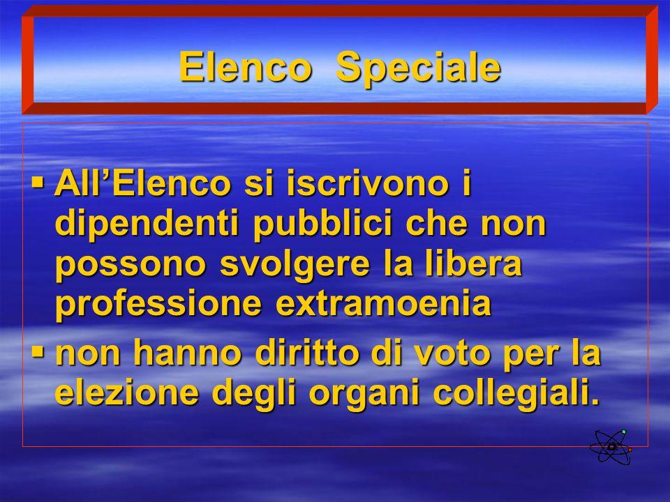 Elenco Speciale All'Elenco si iscrivono i dipendenti pubblici che non possono svolgere la libera professione extramoenia.