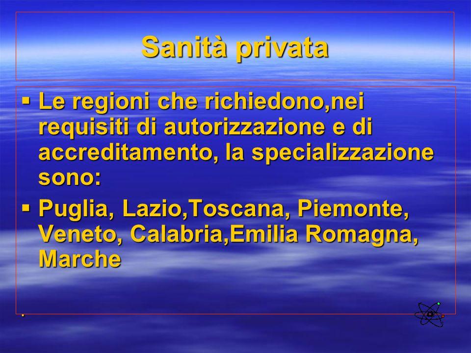 Sanità privata Le regioni che richiedono,nei requisiti di autorizzazione e di accreditamento, la specializzazione sono: