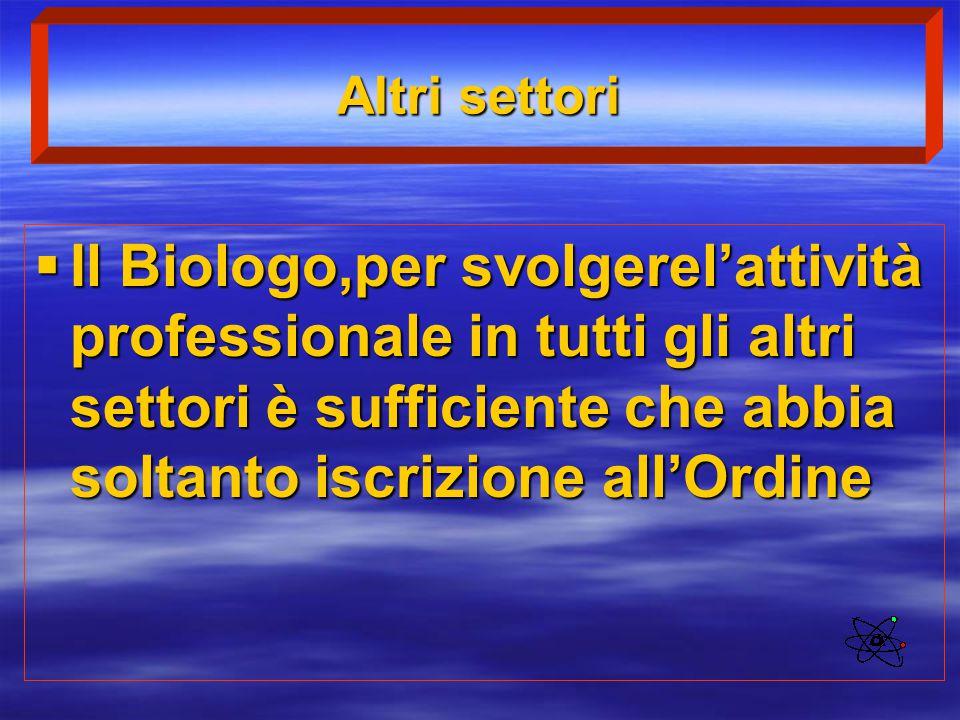 Altri settori Il Biologo,per svolgerel'attività professionale in tutti gli altri settori è sufficiente che abbia soltanto iscrizione all'Ordine.