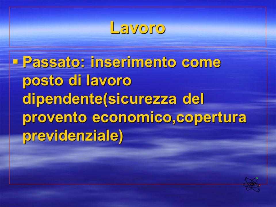 Lavoro Passato: inserimento come posto di lavoro dipendente(sicurezza del provento economico,copertura previdenziale)
