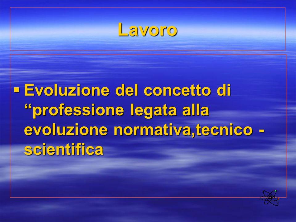 Lavoro Evoluzione del concetto di professione legata alla evoluzione normativa,tecnico -scientifica.