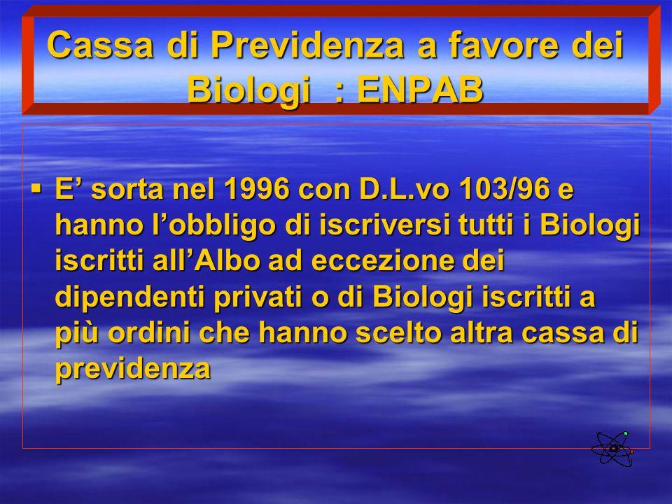Cassa di Previdenza a favore dei Biologi : ENPAB