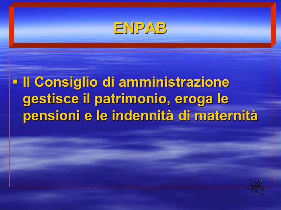 ENPAB Il Consiglio di amministrazione gestisce il patrimonio, eroga le pensioni e le indennità di maternità.