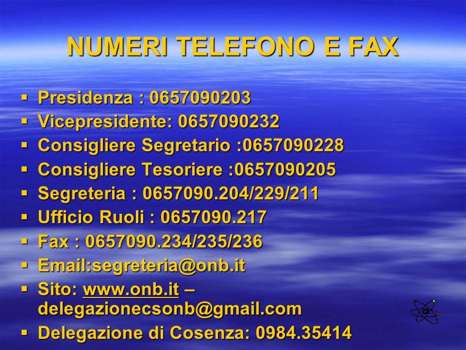 NUMERI TELEFONO E FAX Presidenza : 0657090203