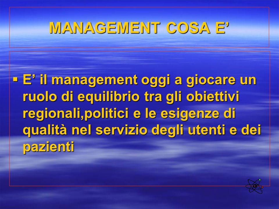 MANAGEMENT COSA E'