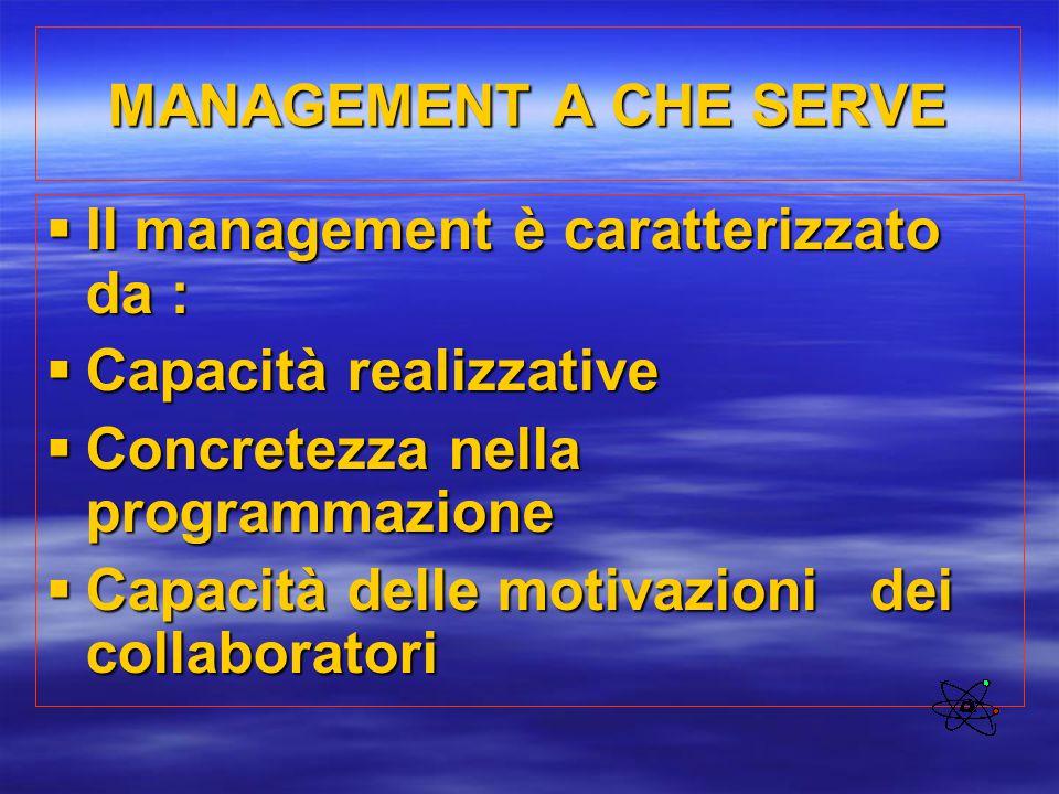 MANAGEMENT A CHE SERVE Il management è caratterizzato da : Capacità realizzative. Concretezza nella programmazione.