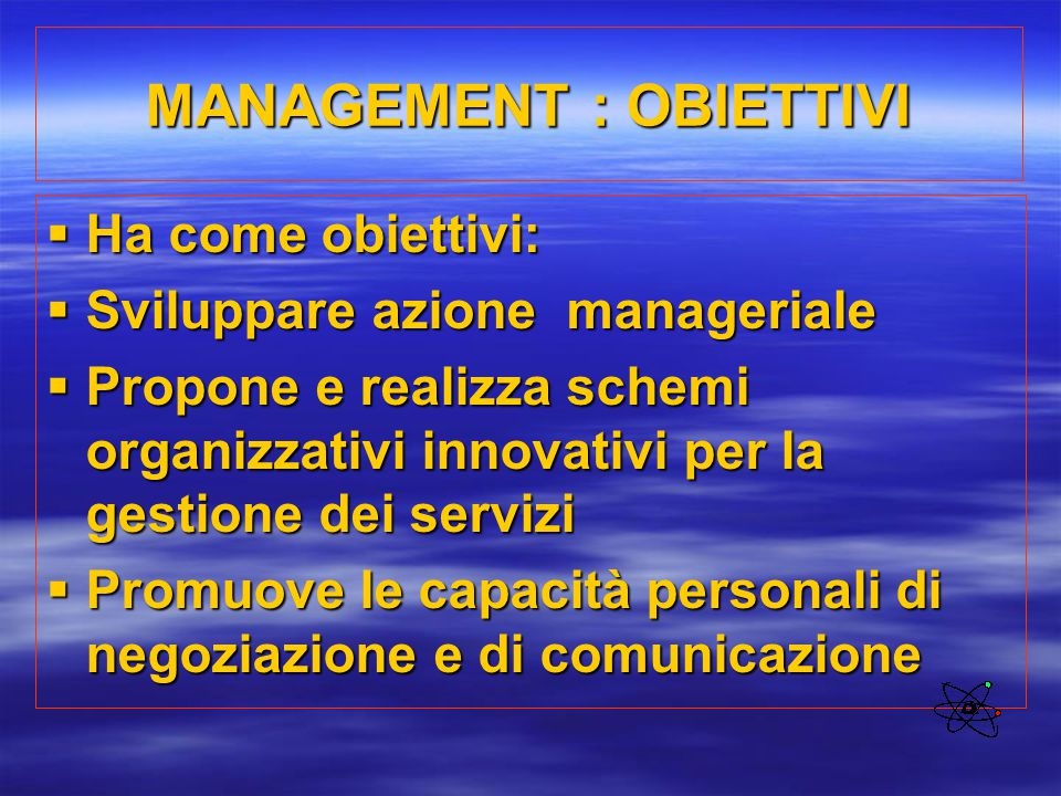 MANAGEMENT : OBIETTIVI