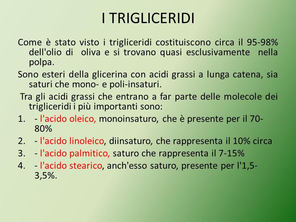 I TRIGLICERIDICome è stato visto i trigliceridi costituiscono circa il 95-98% dell olio di oliva e si trovano quasi esclusivamente nella polpa.