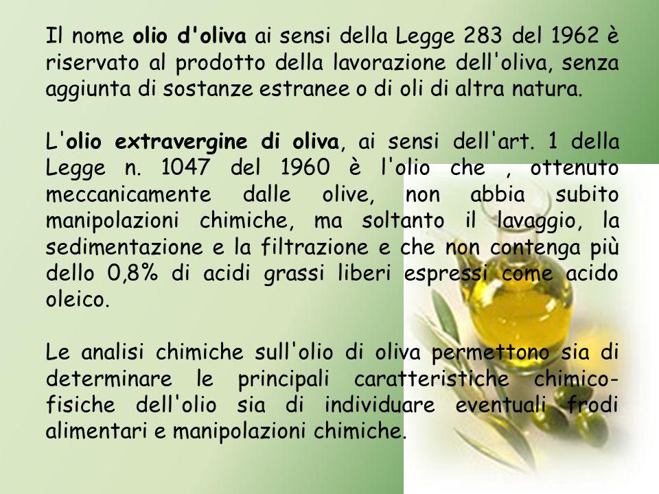 Il nome olio d oliva ai sensi della Legge 283 del 1962 è riservato al prodotto della lavorazione dell oliva, senza aggiunta di sostanze estranee o di oli di altra natura.