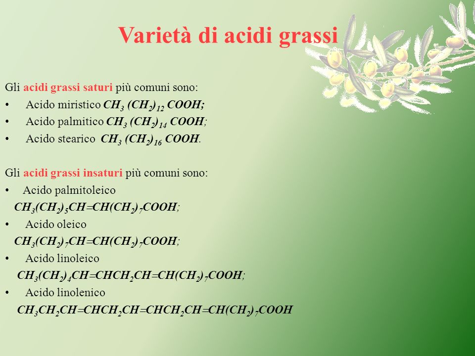 Varietà di acidi grassi