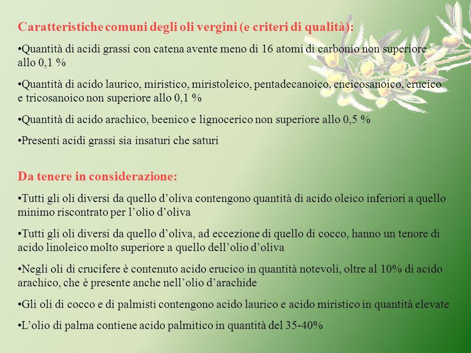 Caratteristiche comuni degli oli vergini (e criteri di qualità):