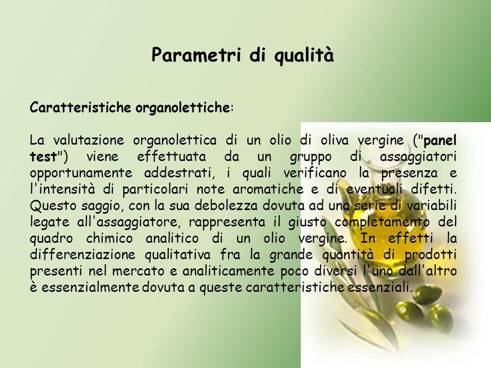 Parametri di qualità Caratteristiche organolettiche: