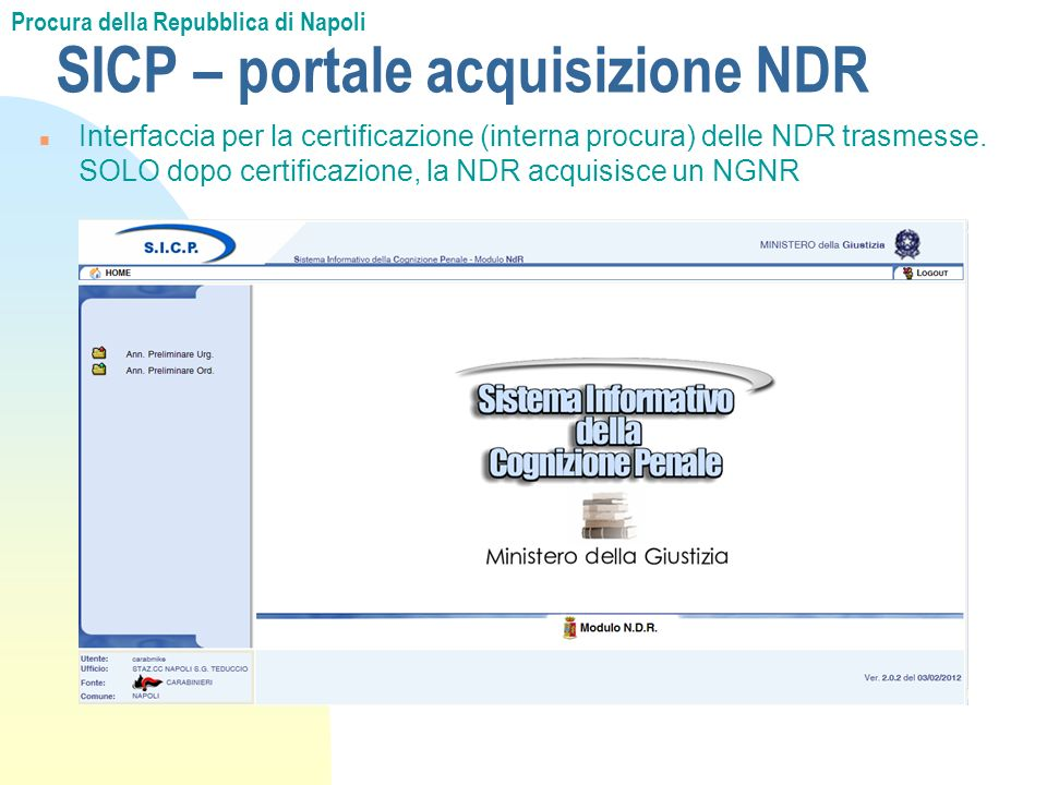 SICP – portale acquisizione NDR