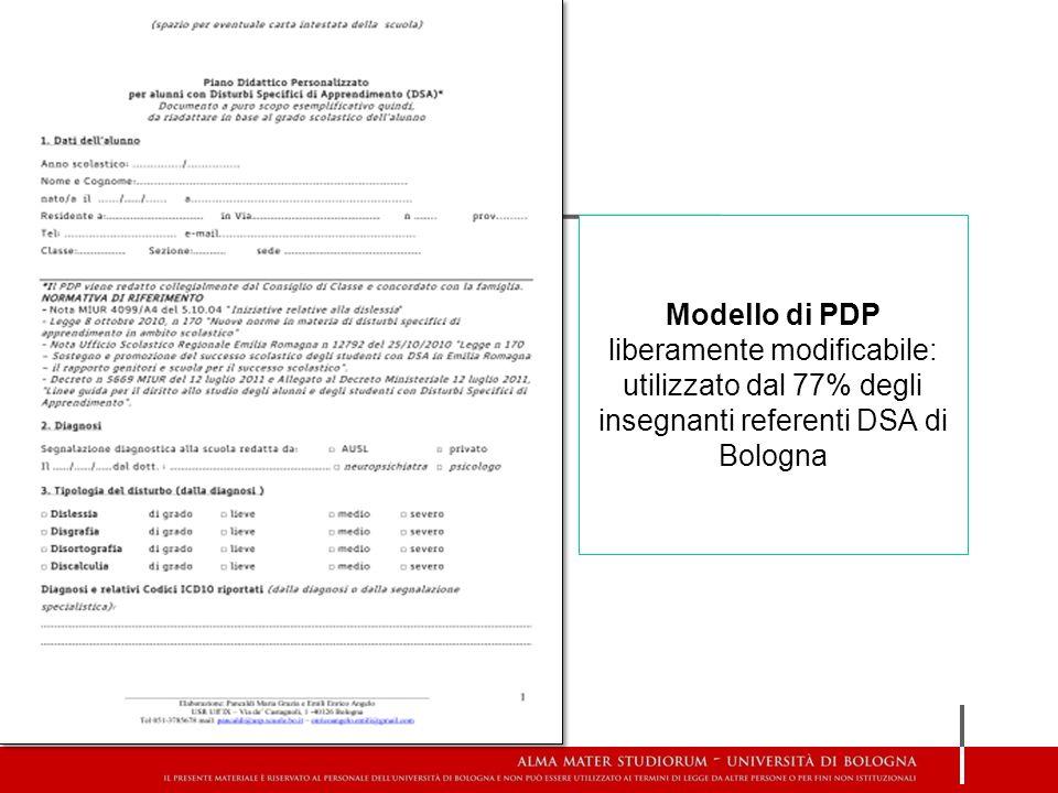Modello di PDP liberamente modificabile: utilizzato dal 77% degli insegnanti referenti DSA di Bologna