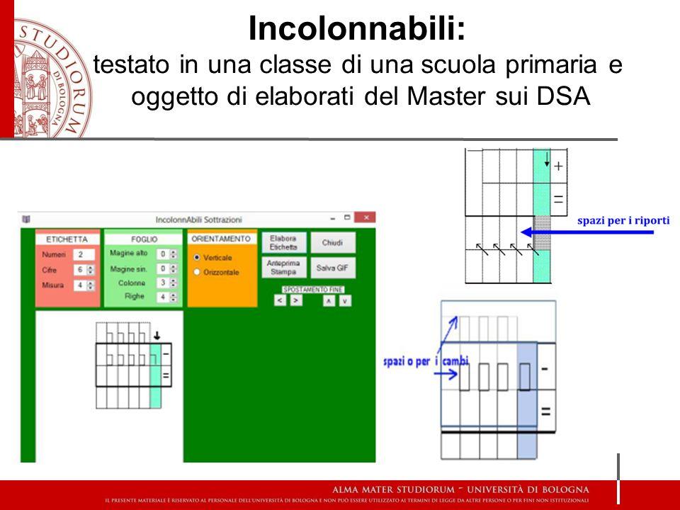 Incolonnabili: testato in una classe di una scuola primaria e oggetto di elaborati del Master sui DSA