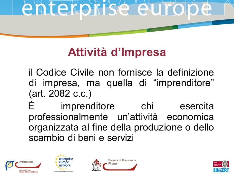 Attività d'Impresail Codice Civile non fornisce la definizione di impresa, ma quella di imprenditore (art. 2082 c.c.)