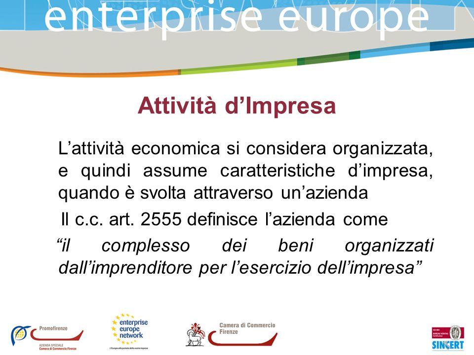 Attività d'Impresa L'attività economica si considera organizzata, e quindi assume caratteristiche d'impresa, quando è svolta attraverso un'azienda.
