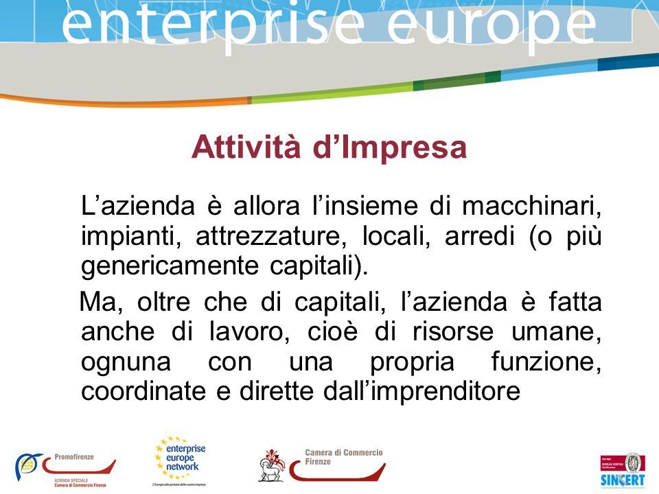 Attività d'ImpresaL'azienda è allora l'insieme di macchinari, impianti, attrezzature, locali, arredi (o più genericamente capitali).