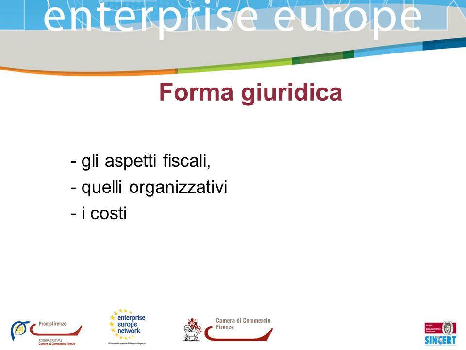 Forma giuridica - gli aspetti fiscali, - quelli organizzativi