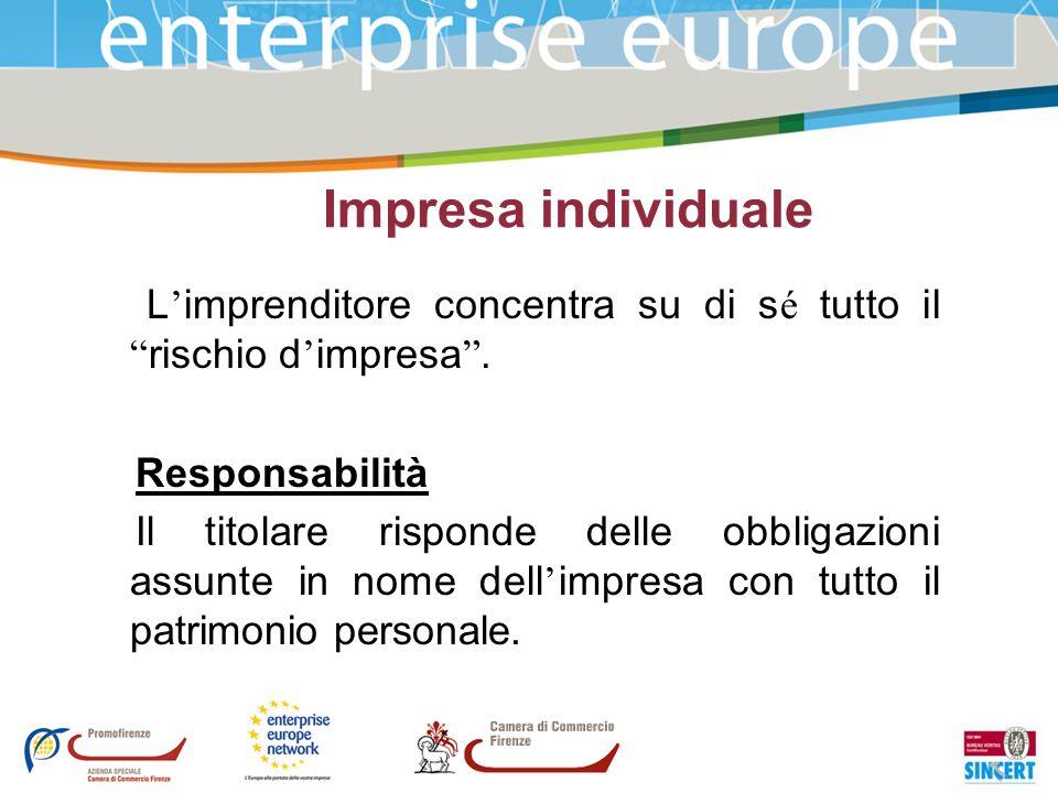 Impresa individuale L'imprenditore concentra su di sé tutto il rischio d'impresa . Responsabilità.