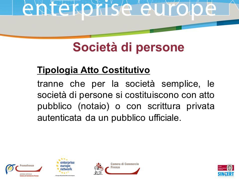 Società di persone Tipologia Atto Costitutivo