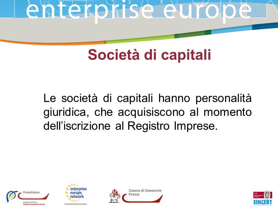 Società di capitali Le società di capitali hanno personalità giuridica, che acquisiscono al momento dell'iscrizione al Registro Imprese.