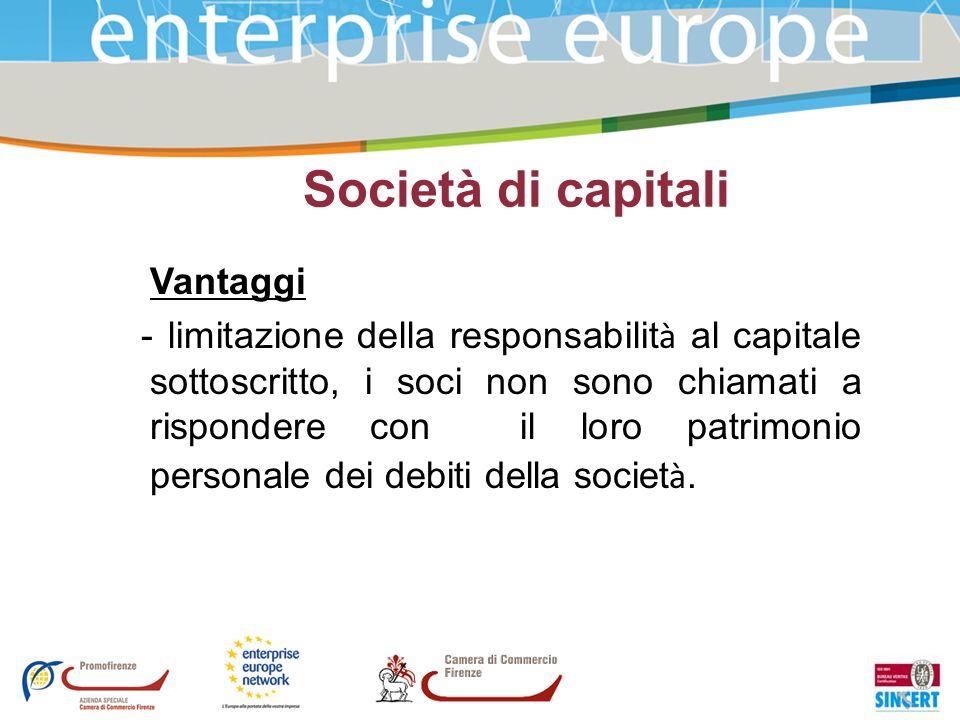 Società di capitali Vantaggi
