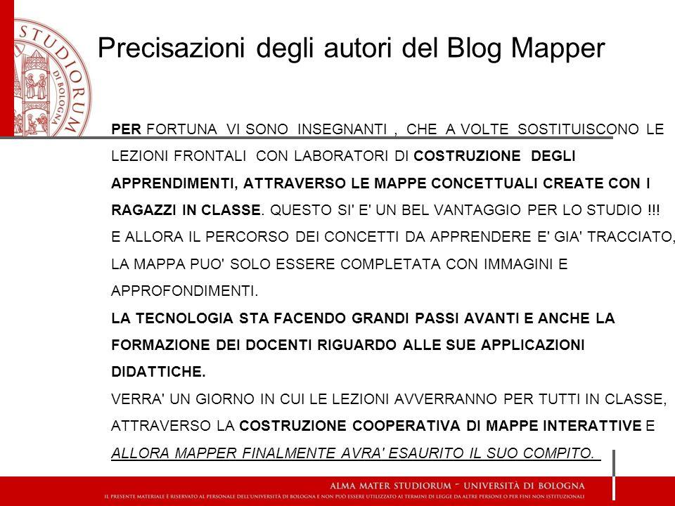 Precisazioni degli autori del Blog Mapper