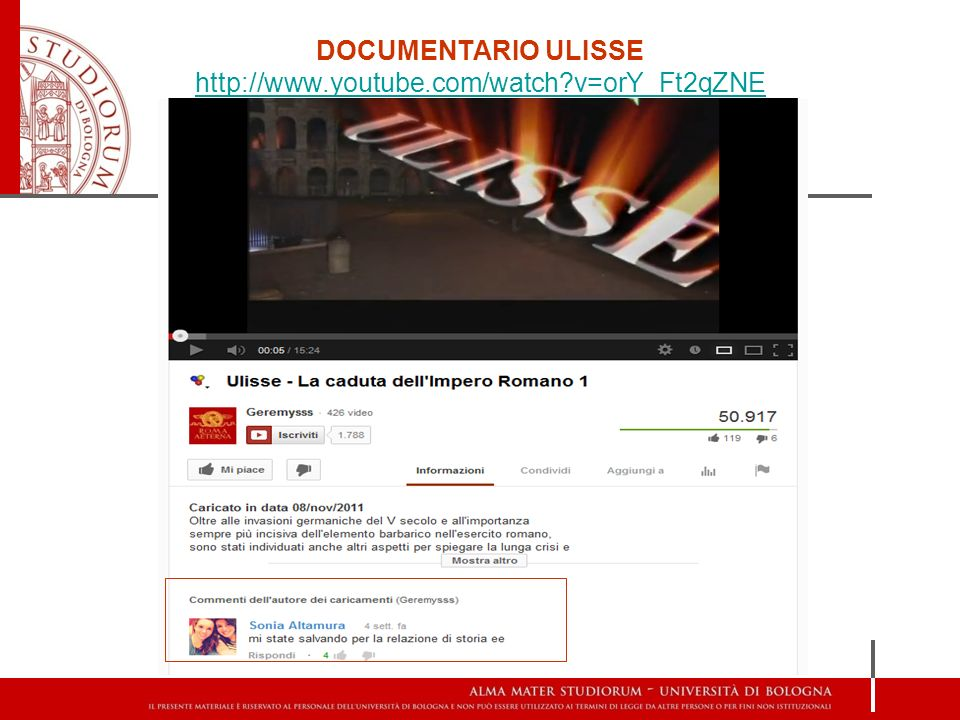 DOCUMENTARIO ULISSE http://www.youtube.com/watch v=orY_Ft2qZNE
