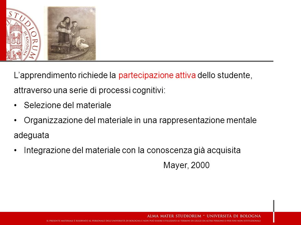 L'apprendimento richiede la partecipazione attiva dello studente, attraverso una serie di processi cognitivi: