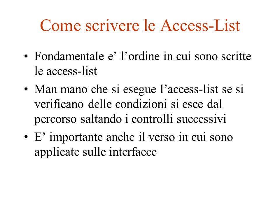 Come scrivere le Access-List